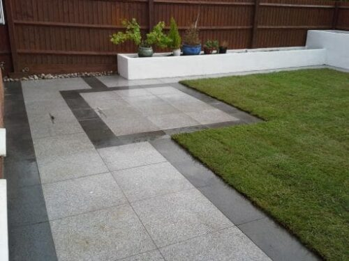 raven grey exfoliated flamed granite paving